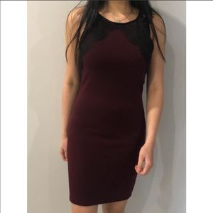 Forever 21 Maroon Dress with Lace Details Size: S